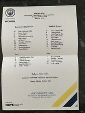 MAN CITY WOMEN V READING LADIES OFFICIAL TEAMSHEET ( 01.04.2018