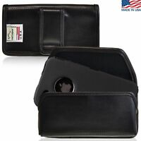 iPhone 4S Leather cell phone Pouch Holster Case Black Belt Clip Fits Otterbox