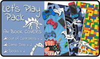 Lets Play A4 School Book Cover Pack - 6 pack Slip-On PVC Jackets, Book Covers