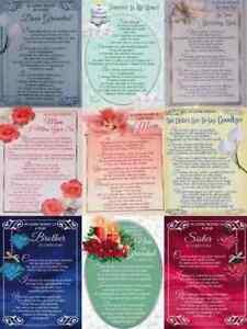Plastic Grave Memory Memorial Remembrance Garden Tribute Card Various Relations