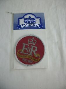 Woven Sew On Patch. The Queens Silver Jubilee. 1952-1977. Ref.053