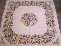 "Vintage Tablecloth Purple Yellow Exotic Flowers Border 1950s ( 46"" X 48"" )"