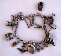 "Vintage Estate Sterling Silver (925) Charm Bracelet w/ 17 Charms - 7"" - 27g"