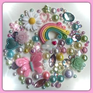 Butterfly And Rainbow Theme Cabochons Gems Crystals flatbacks decoden crafts #4
