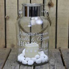 Hurricane Storm Lantern with LED Candle and Decorative Stones ~ Love And Dreams
