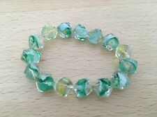 Clear Glass Cube Bead, with Green, White & Yellow, Small Wrist Elastic Bracelet.