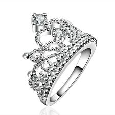 Silver Crown elegant large women wedding bridal ring diameter 18 mm size Q FR190