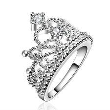 Silver Crown elegant large women wedding bridal ring diameter 18 mm size Q FR190