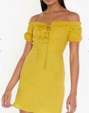 Nastygal Mustard Bardot Dress Size 10 Tie Front