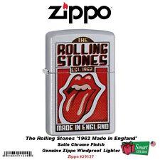Zippo Rolling Stones Satin Chrome Lighter, USA Genuine Windproof #29127