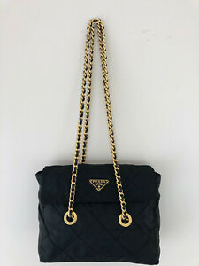 Prada Tessudo Quilted Nylon Shoulder Bag with Golden color chain/leather straps