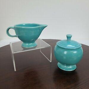 Vintage Fiesta Creamer And Sugar Bowl With Lid Set Blue HLC Homer Laughlin