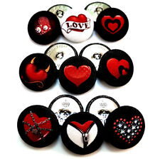Set Handmade Heart Art Buttons Jewellery Gift Hairpin Party Love Valentine's