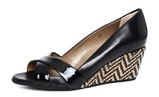 Anyi Lu Women's Slip On Black Tan Patent Leather Wedge Sandals Sz 37 EUR 2185