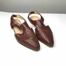 Vintage Woven Leather Connie Sandals Brown Size 7.5B Man Made