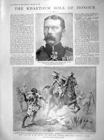 Old Antique Print 1898 Khartoum Lord Kitchener Smyth Victoria Cross Kenna 19th