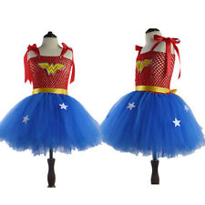 Bambino Ragazze Divertente Abito Mesh Wonder Woman Cos Festa di Natale Mini