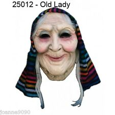 HALLOWEEN OLD LADY WOMAN WITCH GRANNY LATEX COSTUME MASK WITH WIG AND HEADSCARF