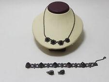 Schmuck Set 925er Silber mit Granate Steinen