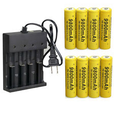 8PCS 18650 Battery 3.7V Li-ion Rechargeable Batteries + Smart 4 Slots Charger US