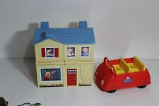 Rare Olivia Reversable Blue roof House/Pirate Ship and Peppa Pig red car