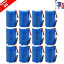 12 x 4/5 SubC SC 1.2V 2200mAh NICD Rechargeable Battery W/Tab For Power Tool