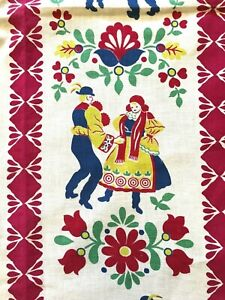 Vintage Cotton Dutch Swedish Dancing Figural Fabric Panel Lot of 2 Red Border