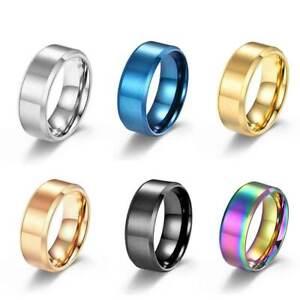 8mm Men Women Couple Titanium Steel Finger Fashion Wedding Engagement Rings - UK