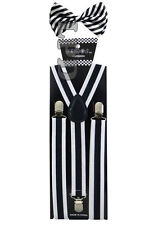 New Awesome Striped Two Tone Black & White Adjustable Bow Tie & Suspender Set
