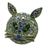Vintage Kitty Cat Pin Brooch Face Only Aurora Borealis Rhinestones Green Eyes