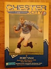 Chester City v Port Vale - Division Two - 16th January 1993 - Good Condition