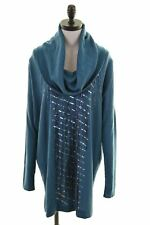 LIU JO Womens Jumper Dress IT 46 Large Turquoise Wool Loose Fit  BT05