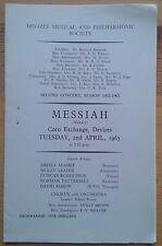 Messiah programme Corn Exchange Devizes 2nd April 1963 Sheila McShee David Mason
