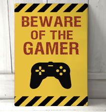 Beware of the Gamer quote symbol sign Gift Idea A4 metal plaque