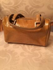 Versace Logo Small Handbag Gold Color Patent Leather Authentic With Bling