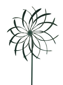Zeckos 18 in. Metal Garden Stake Flower Wind Spinner Sculpture
