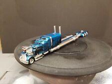 1/64 Custom Diecast Stretched Hotrod Semi. Candy Blue w/black flames. Real Rider
