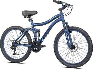 "24"" Full Suspension Mountain Bike 21-Speeds Aluminum Frame Adjustable Height"
