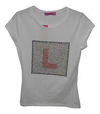 L Plate Hen Party Diamante Ladies T-Shirt Top White Medium