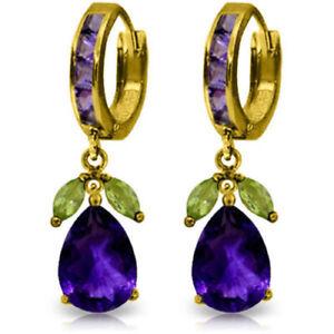 Natural Amethyst & Peridot Gemstones Huggie Hoops Dangle Earrings 14K Solid Gold