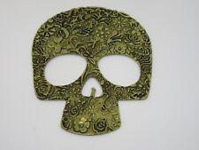 Antique Gold Alloy Large Skull FlatBack Cabochon Embellishment Scrapbook 3D DIY