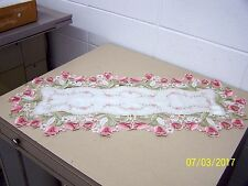 """Wimpole Street Creations Cutwork Table Runner """"Shades of Pink Tulip"""" 16x36"""" NEW!"""