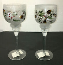 NEW! LOT OF 2 Yankee Candle Pinecone And Berry Crackle Frosty Stem Glass Holder