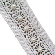 Faux Pearls Beaded Eyelet Cotton Lace Trims for Decorative Use Pack of 2 Yards
