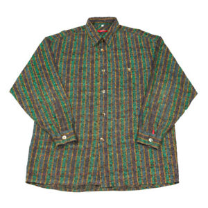 Vintage Patterned Shirt | XL | Retro Crazy Party 80s 90s Collar Button Striped