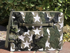 NWT $1195 Valentino Camustars Leather Star Document Pouch Clutch Bag Camo Large