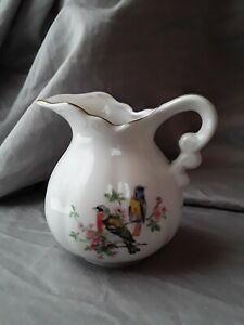 """Vintage Porcelain Gold Trim 3.5"""" Birds Creamer Pitcher"""