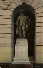 Baltimore Md USA postcard ~1920 Statue of Sir Calvert in front of Court House