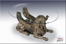 Ägyptische Couchtisch Sphinx Wohnzimmertisch Tisch Glastisch Luxusmöbel
