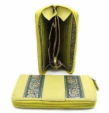 Bifold Zip Around Genuine Leather Lime Green Wallet with Indian Floral Patterns